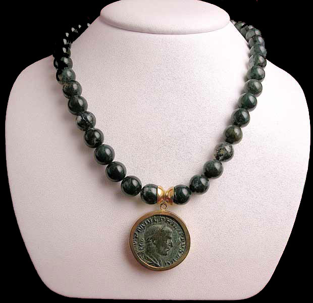 Moss Agate Bead Necklace Featuring a Roman Bronze Sestetius of Emperor Philip I